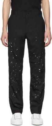 Comme des Garçons Homme Black Wool Paint Splatter Trousers