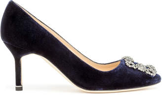Manolo Blahnik Hangisi 70 dark blue velvet pumps