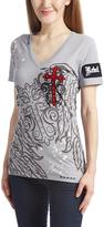 Rebel Spirit Gray Wings & Patches Cross V-Neck Tee - Women