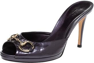 Gucci Purple Guccissima Patent Leather Peep Toe Horsebit Slides Size 37