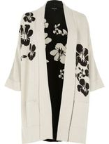 River Island Womens White and black flower knit cardigan