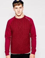 Firetrap Cable Knit Jumper - Red