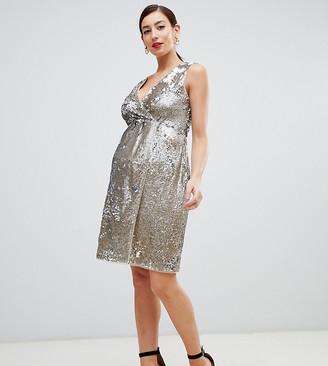 TFNC Maternity Maternity sequin midi wrap dress in gold