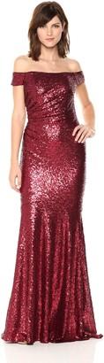 Badgley Mischka Women's Off Shoulder Sequin Gown
