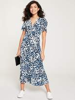 Whistles Brushed Leopard Button Through Dress - Blue