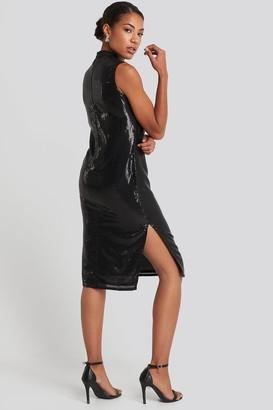 NA-KD High Neck Side Slit Sequins Dress