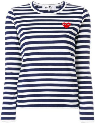 Comme des Garcons Logo Striped Crewneck Tee