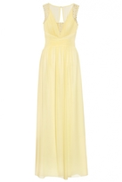 Quiz Lemon Chiffon Embellished V Neck Maxi Dress