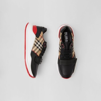 Burberry Leather and Vintage Check Cotton Sneakers