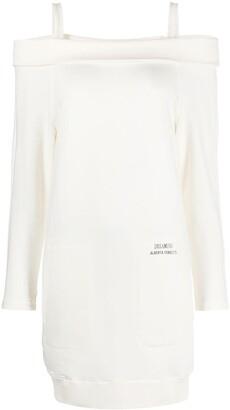 Alberta Ferretti Cold-Shoulder Sweatshirt Dress