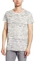 Cheap Monday Men's Cap Tee Crayon Stripe Striped Short Sleeve T-Shirt