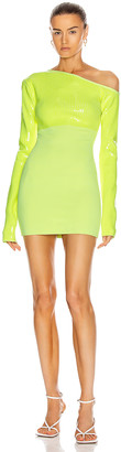 David Koma Sequin Asymmetric Shoulder Knit Mini Dress in Neon Yellow | FWRD