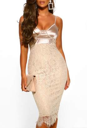 Pink Boutique Late Night Feelings Champagne Lace Strappy Midi Dress