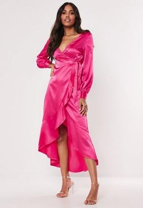 Missguided Hot Pink Satin Plunge Frill Midi Dress
