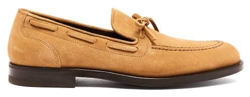 Bottega Veneta Bow Embellished Suede Loafers - Mens - Camel