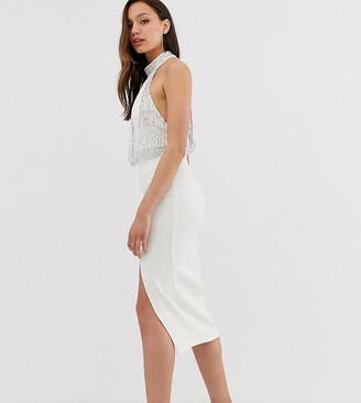 Asos Tall DESIGN Tall Embellished Top Halter Midi Pencil Dress-Multi