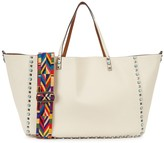 Valentino Rockstud Rolling Reversible Leather Tote