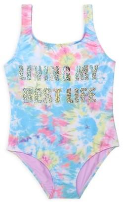 Pq Little Girl's & Girl's Living My Best Life Tie Dye One-Piece Swimsuit