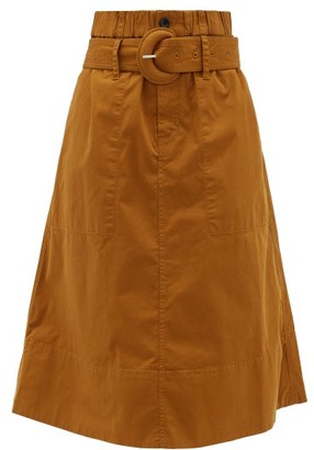 Proenza Schouler White Label - Belted Cotton-blend Twill Midi Skirt - Womens - Brown