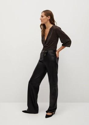 MANGO Shiny draped top black - XS - Women