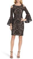 Xscape Evenings Women's Flocked Cold Shoulder Sheath Dress