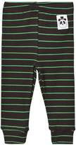 Mini Rodini Black and Green Ribbed Stripe Leggings