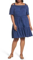 London Times Plus Size Women's Cold Shoulder Blouson Dress