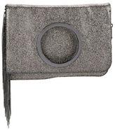 Halston Metallic Leather Fringe Clutch