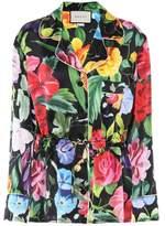 Gucci Floral-printed silk satin blouse