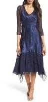 Komarov Petite Women's Charmeuse & Chiffon A-Line Dress