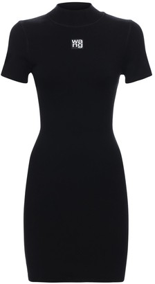 Alexander Wang Logo Stretch Jersey Mini Dress