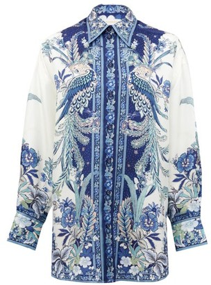 Zimmermann Glassy Placement Bird And Floral-print Silk Shirt - Blue Print