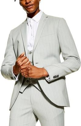 Topman Super Skinny Fit Pinstripe Suit Jacket