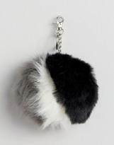 Urban Code Urbancode Faux Fur Stripe Pom Pom Keychain Bag Accessory
