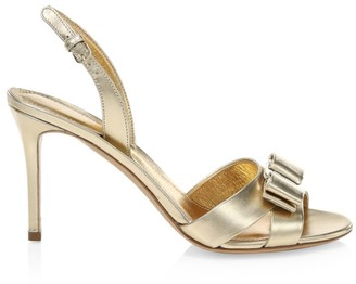 Salvatore Ferragamo Lida Metallic Leather Slingback Sandals