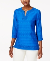 Alfred Dunner Petite Lace-Trim Tunic