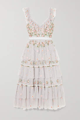 Needle & Thread Whimsical Tiered Embroidered Tulle Midi Dress - Light blue