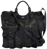 Be & D Black Leather Ruffly Tote Bag