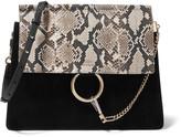 Chloé Faye Medium Python, Suede And Leather Shoulder Bag - Black