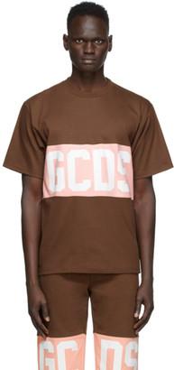 GCDS Brown and Pink Band Logo T-Shirt