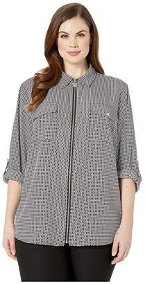 MICHAEL Michael Kors Size Mini Geo Lock Zip Top (Black/White) Women's Clothing