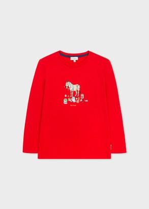 Paul Smith 8-10 Years Red 'Painting Zebra' Print Long-Sleeve T-Shirt
