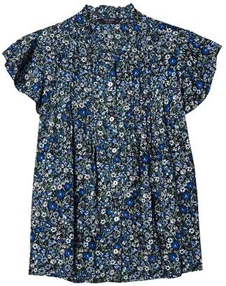 Lucky Brand Flutter Sleeve Poet Blouse (Navy Multi) Women's Clothing