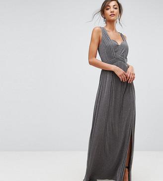 Little Mistress Tall Metallic Jersey Maxi Dress With Wrap Detail-Silver