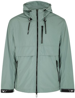 Emporio Armani Teal Hooded Shell Jacket