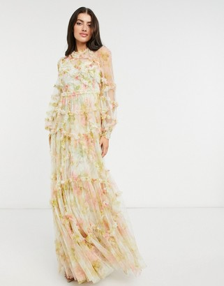 Needle & Thread long sleeve 3D printed maxi dress in mixed floral