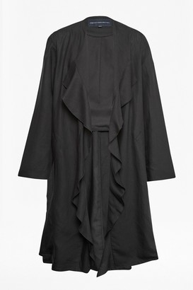 French Connection Dae Drape Ruffle Duster Coat