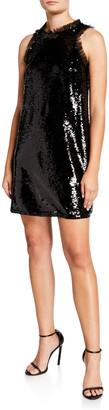 Aidan Mattox Sequin Trapeze Sleeveless Short Cocktail Dress