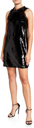 Aidan Mattox Sequin Trapeze Sleeveless Short Cocktail Dress