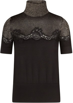 Dolce & Gabbana Cashmere Lurex Roll-Neck Top